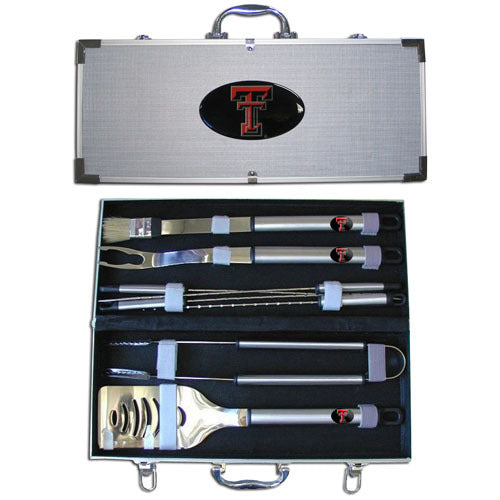 Texas Tech Raiders 8 pc Stainless Steel BBQ Set w/Metal Case