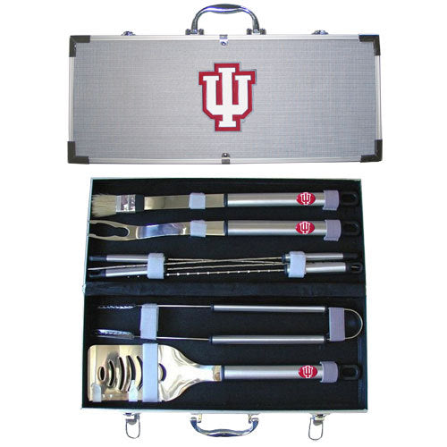 Indiana Hoosiers 8 pc Stainless Steel BBQ Set w/Metal Case