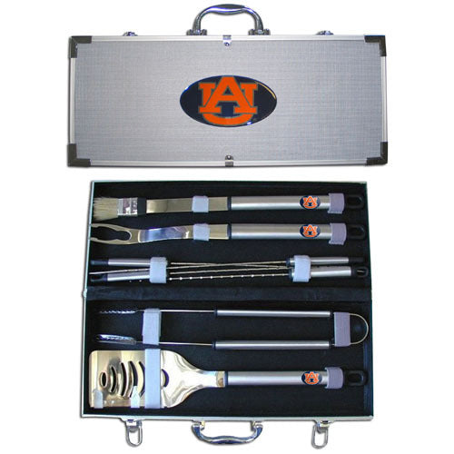 Auburn Tigers 8 pc Stainless Steel BBQ Set w/Metal Case