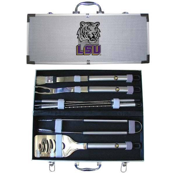 LSU Tigers 8 pc Stainless Steel BBQ Set w/Metal Case