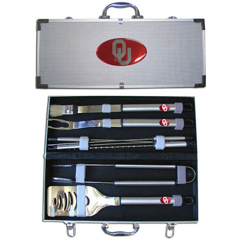 Oklahoma Sooners 8 pc Stainless Steel BBQ Set w/Metal Case