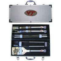 Virginia Tech Hokies 8 pc Stainless Steel BBQ Set w/Metal Case