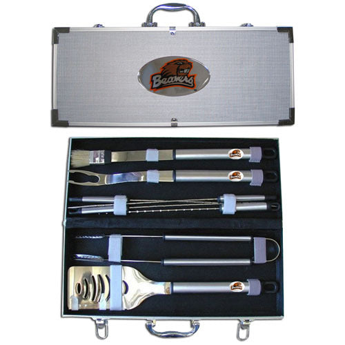 Oregon St. Beavers 8 pc Stainless Steel BBQ Set w/Metal Case