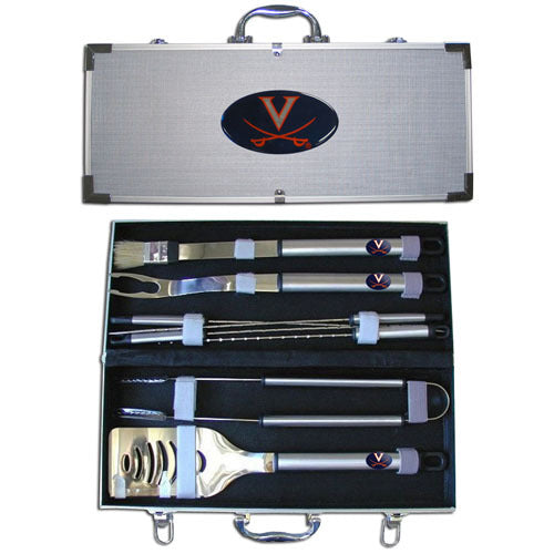 Virginia Cavaliers 8 pc Stainless Steel BBQ Set w/Metal Case