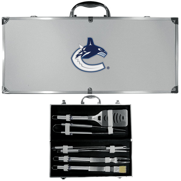 Vancouver Canucks? 8 pc Stainless Steel BBQ Set w/Metal Case