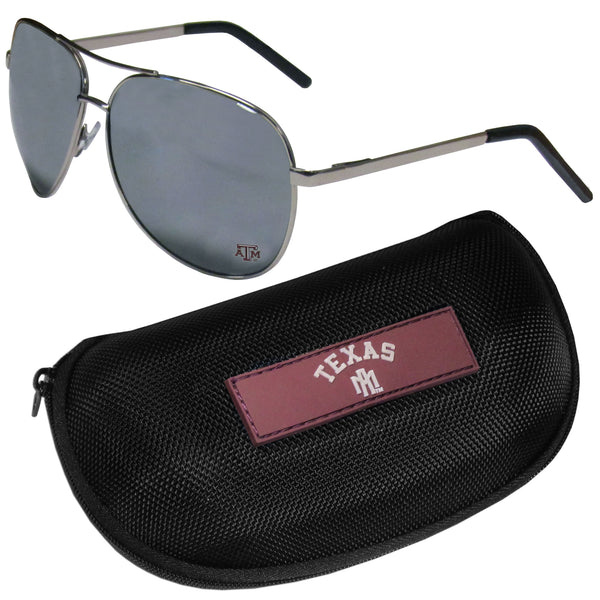 Texas A & M Aggies Aviator Sunglasses and Zippered Carrying Case