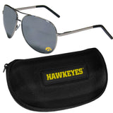 Iowa Hawkeyes Aviator Sunglasses and Zippered Carrying Case