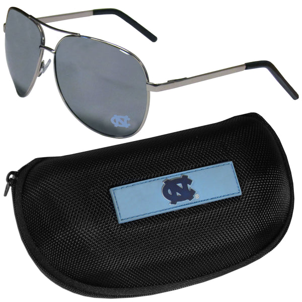 N. Carolina Tar Heels Aviator Sunglasses and Zippered Carrying Case
