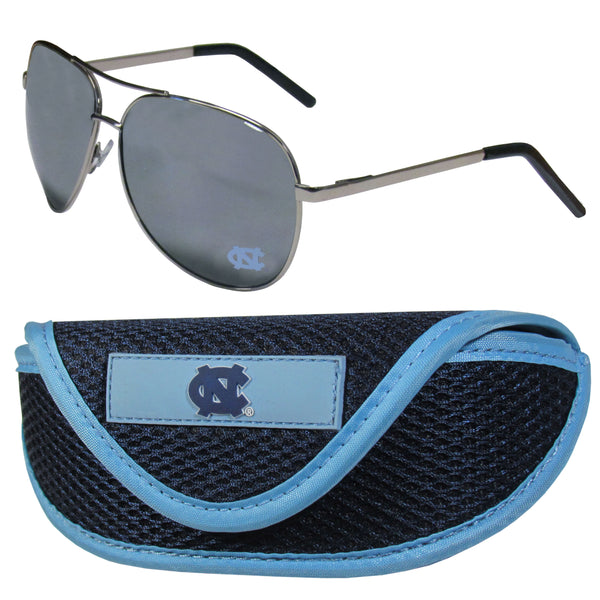 N. Carolina Tar Heels Aviator Sunglasses and Sports Case