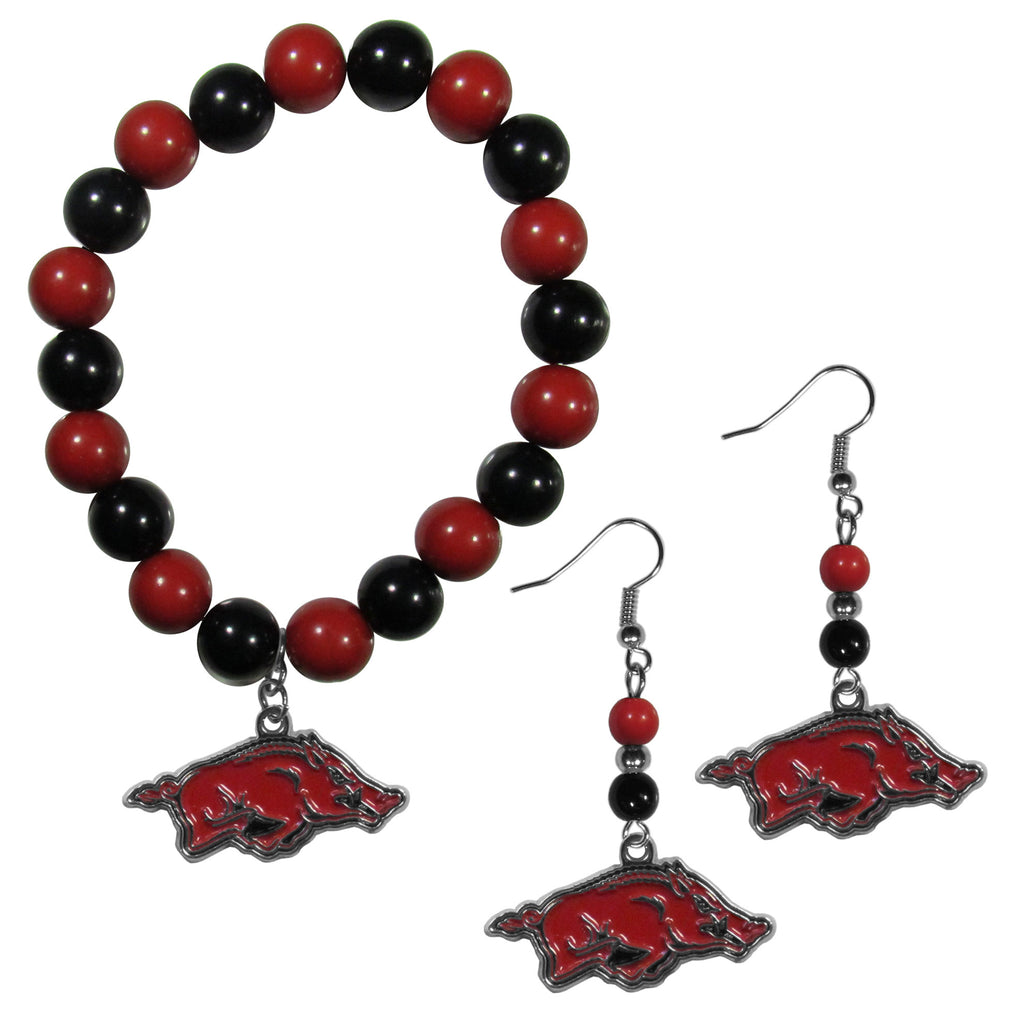 Arkansas Razorbacks Fan Bead Earrings and Bracelet Set