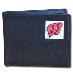 Wisconsin Badgers Leather Bi-fold Wallet Packaged in Gift Box