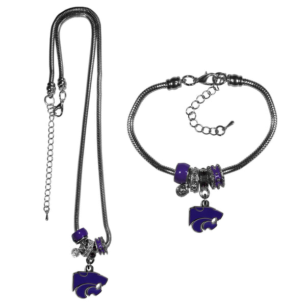 Kansas St. Wildcats Euro Bead Necklace and Bracelet Set