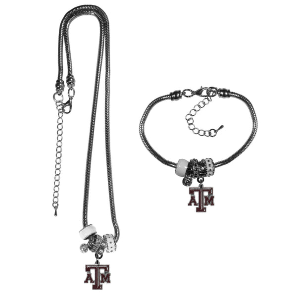 Texas A & M Aggies Euro Bead Necklace and Bracelet Set