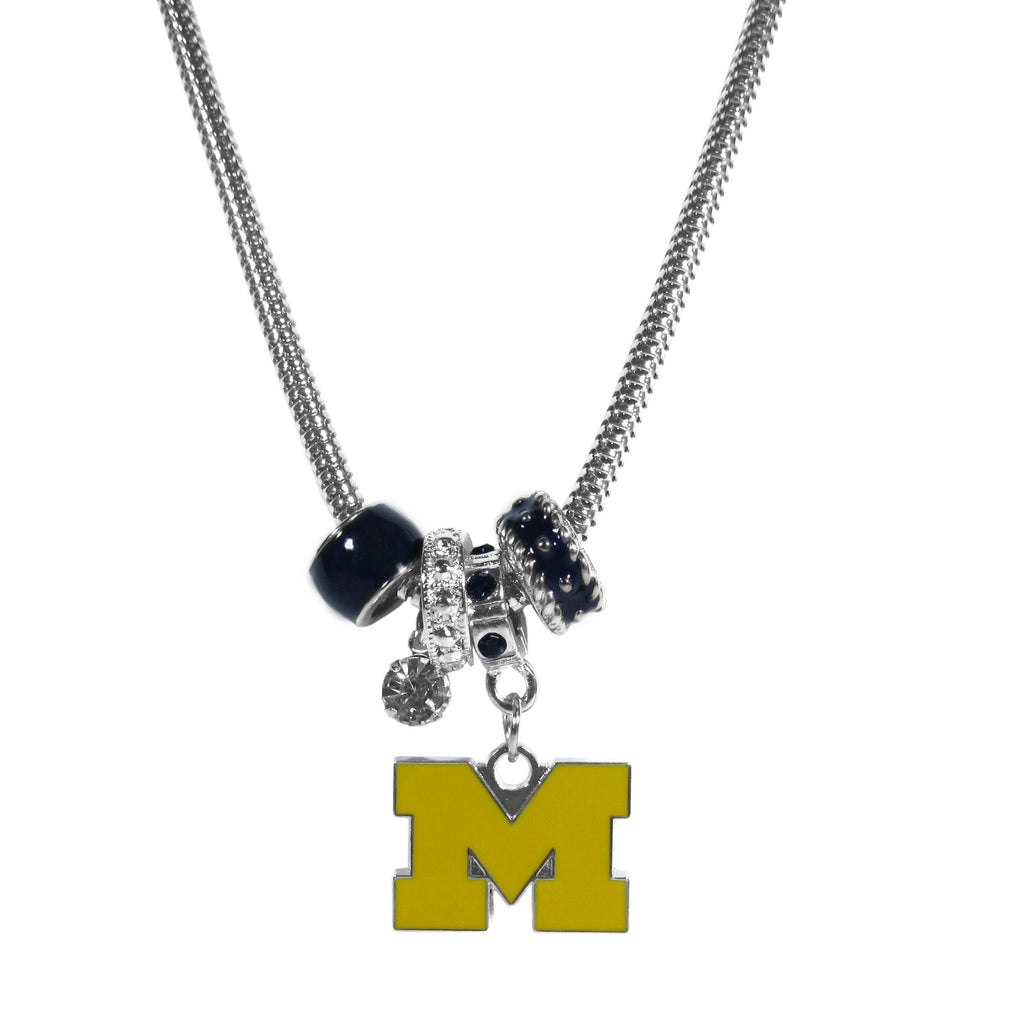 Michigan Wolverines Euro Bead Necklace