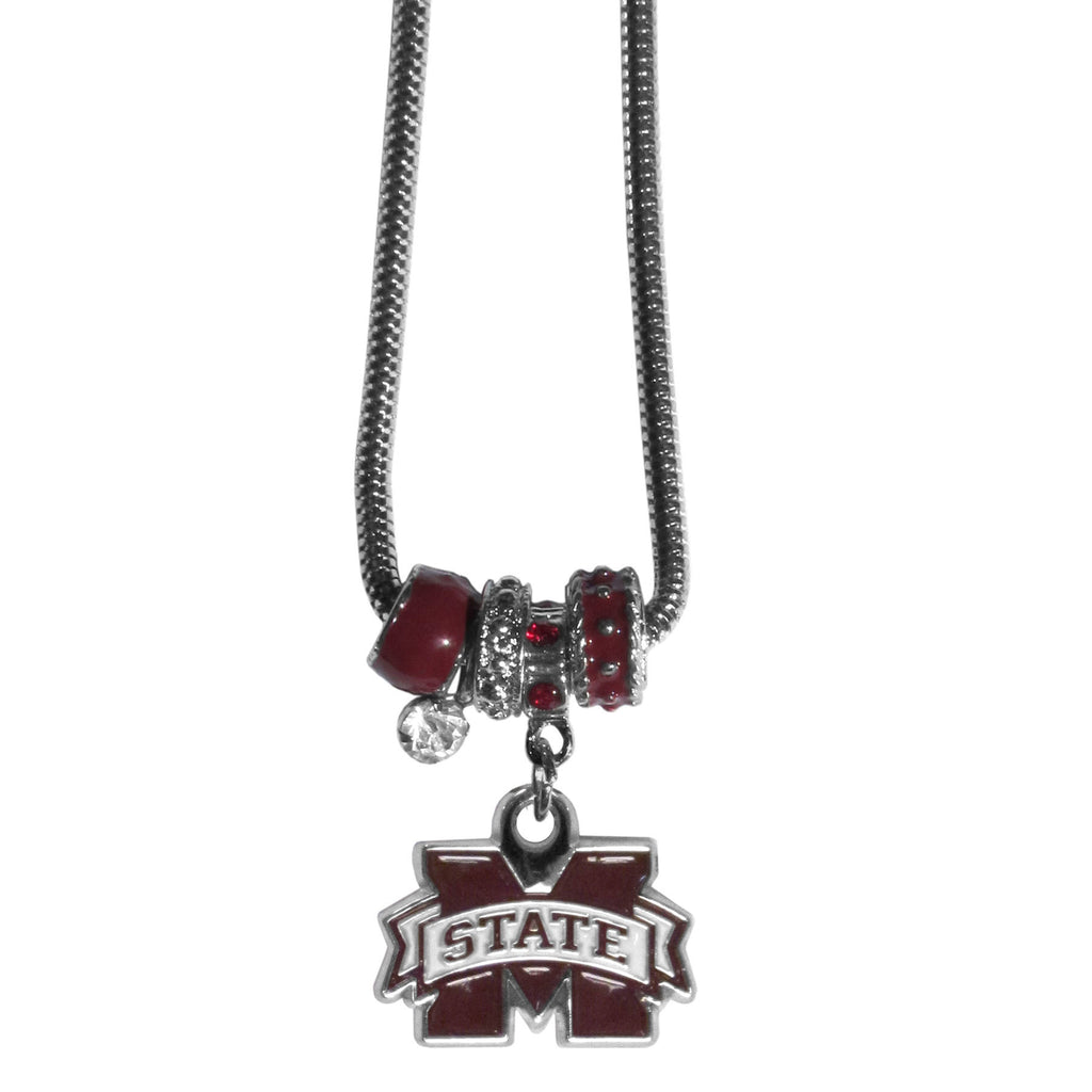 Mississippi St. Bulldogs Euro Bead Necklace