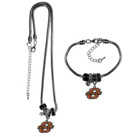 Oklahoma St. Cowboys Euro Bead Necklace and Bracelet Set