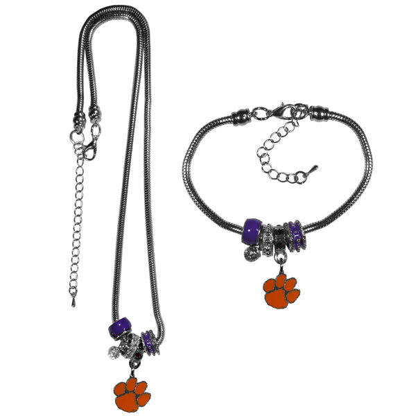 Clemson Tigers Euro Bead Necklace and Bracelet Set