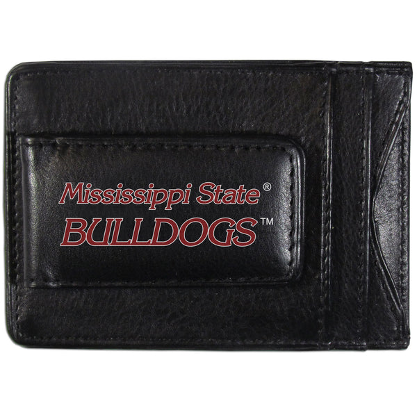 Mississippi St. Bulldogs Logo Leather Cash and Cardholder