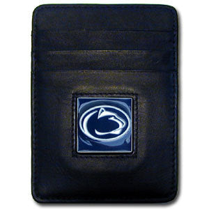 Penn St. Nittany Lions Leather Money Clip/Cardholder Packaged in Gift Box