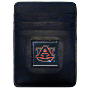 Auburn Tigers Leather Money Clip/Cardholder Packaged in Gift Box