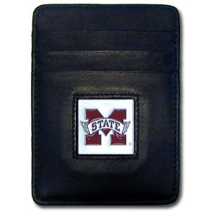 Mississippi St. Bulldogs Leather Money Clip/Cardholder Packaged in Gift Box