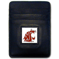 Washington St. Cougars Leather Money Clip/Cardholder Packaged in Gift Box