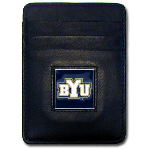 BYU Cougars Leather Money Clip/Cardholder Packaged in Gift Box