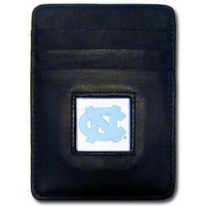 N. Carolina Tar Heels Leather Money Clip/Cardholder Packaged in Gift Box