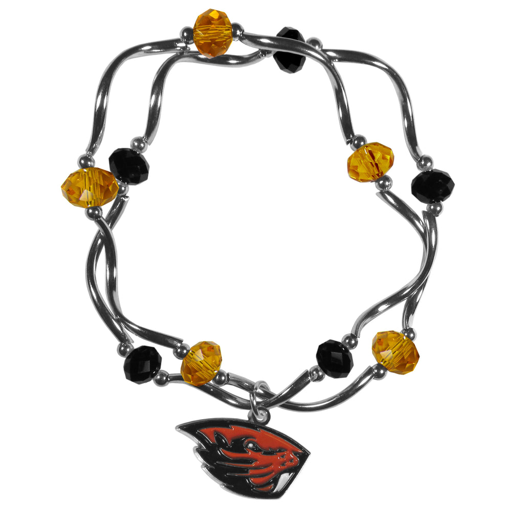 Oregon St. Beavers Crystal Bead Bracelet