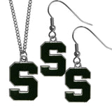 Michigan St. Spartans Dangle Earrings and Chain Necklace Set