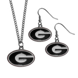 Georgia Bulldogs Dangle Earrings and Chain Necklace Set