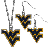 W. Virginia Mountaineers Dangle Earrings and Chain Necklace Set