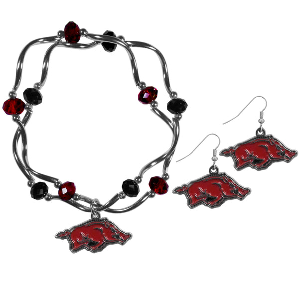 Arkansas Razorbacks Dangle Earrings and Crystal Bead Bracelet Set