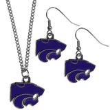 Kansas St. Wildcats Dangle Earrings and Chain Necklace Set