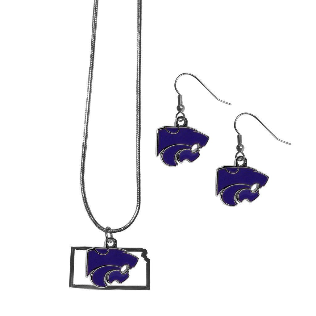 Kansas St. Wildcats Dangle Earrings and State Necklace Set