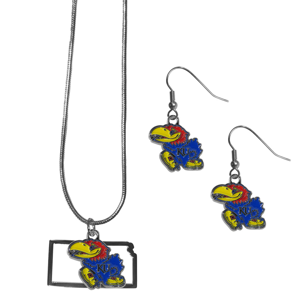 Kansas Jayhawks Dangle Earrings and State Necklace Set
