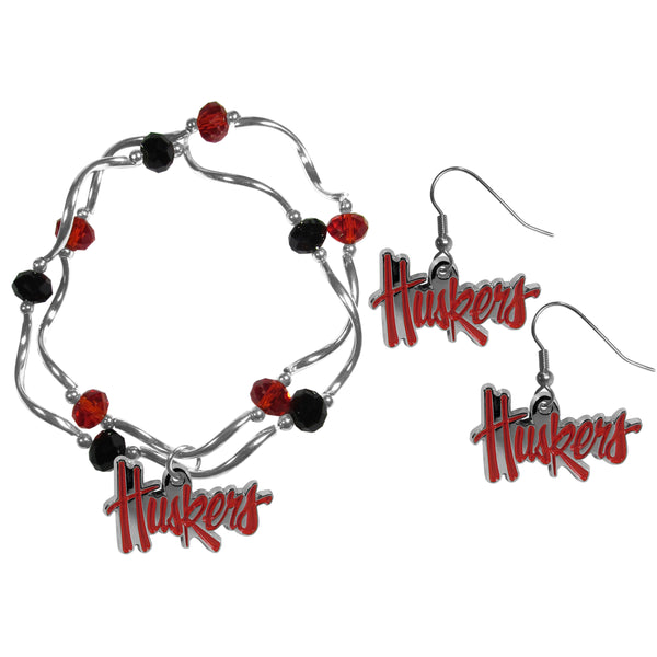 Nebraska Cornhuskers Dangle Earrings and Crystal Bead Bracelet Set