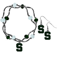 Michigan St. Spartans Dangle Earrings and Crystal Bead Bracelet Set