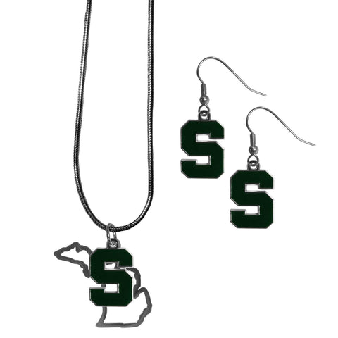 Michigan St. Spartans Dangle Earrings and State Necklace Set