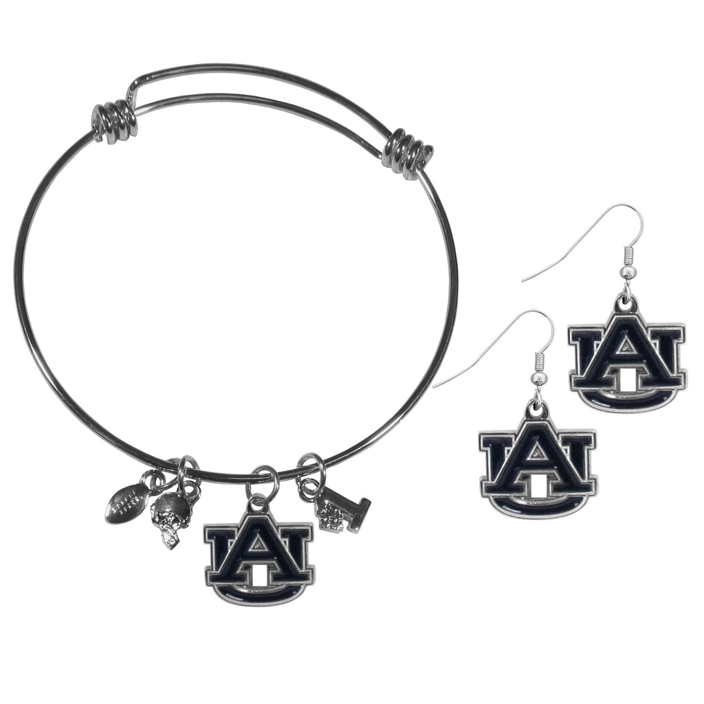 Auburn Tigers Dangle Earrings and Charm Bangle Bracelet Set