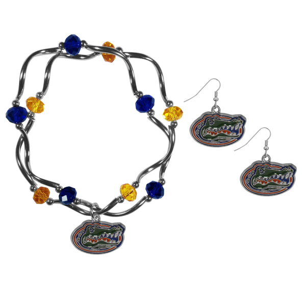 Florida Gators Dangle Earrings and Crystal Bead Bracelet Set