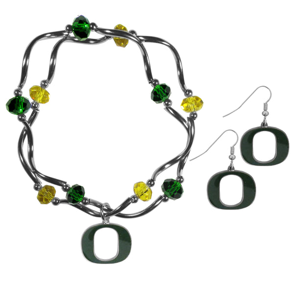 Oregon Ducks Dangle Earrings and Crystal Bead Bracelet Set