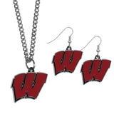 Wisconsin Badgers Dangle Earrings and Chain Necklace Set