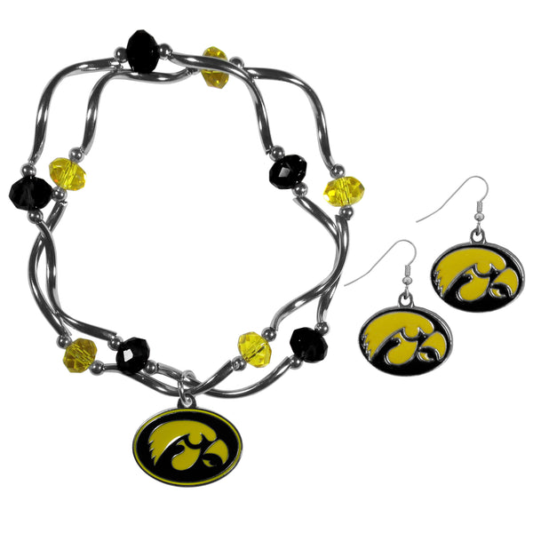 Iowa Hawkeyes Dangle Earrings and Crystal Bead Bracelet Set