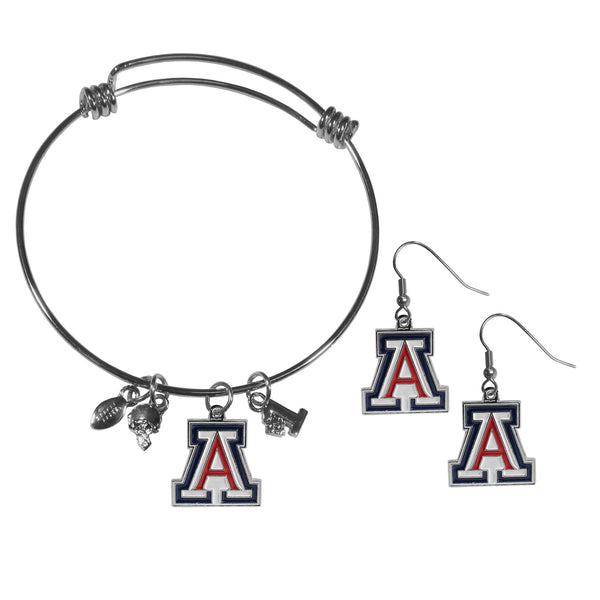 Arizona Wildcats Dangle Earrings and Charm Bangle Bracelet Set
