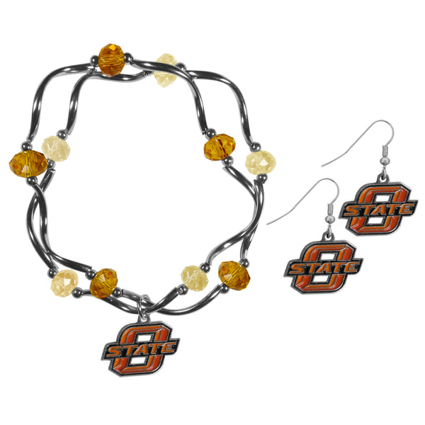 Oklahoma St. Cowboys Dangle Earrings and Crystal Bead Bracelet Set