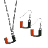 Miami Hurricanes Dangle Earrings and Chain Necklace Set