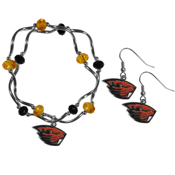 Oregon St. Beavers Dangle Earrings and Crystal Bead Bracelet Set
