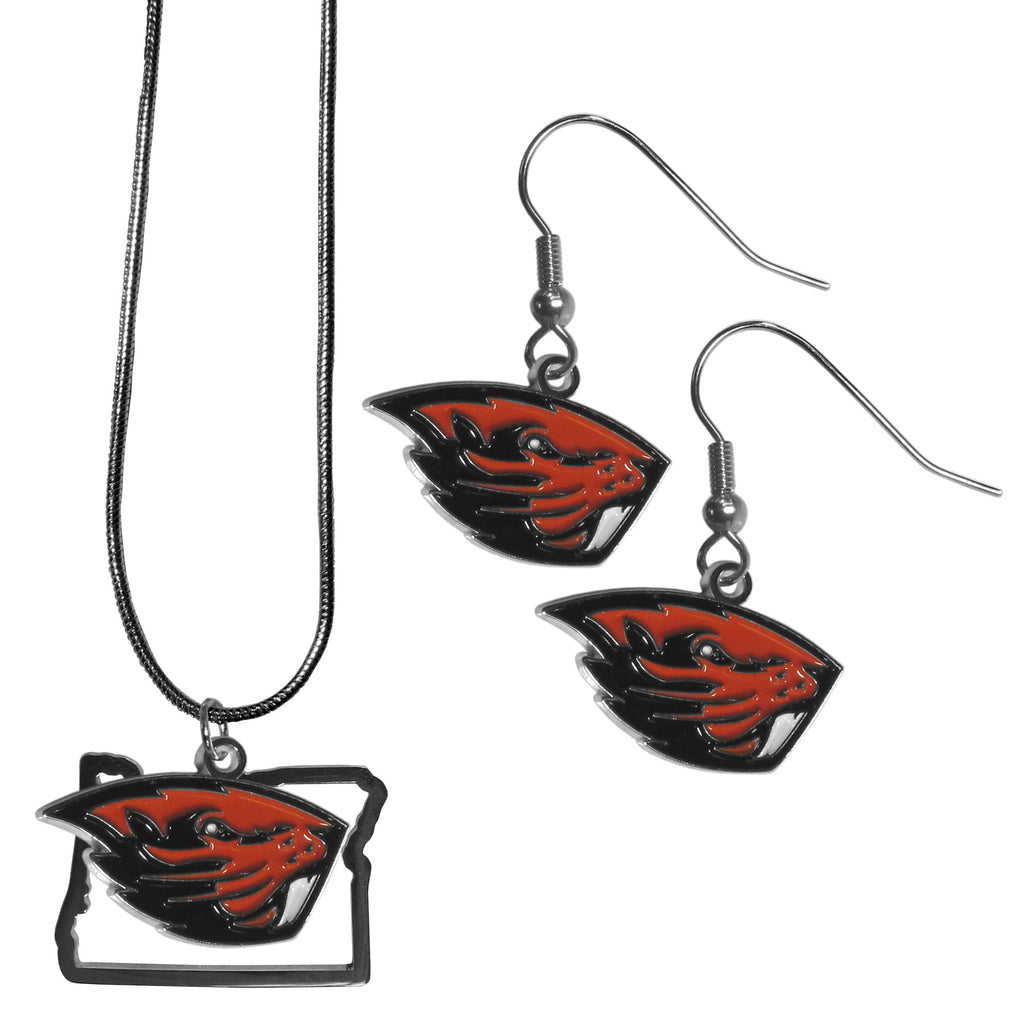 Oregon St. Beavers Dangle Earrings and State Necklace Set
