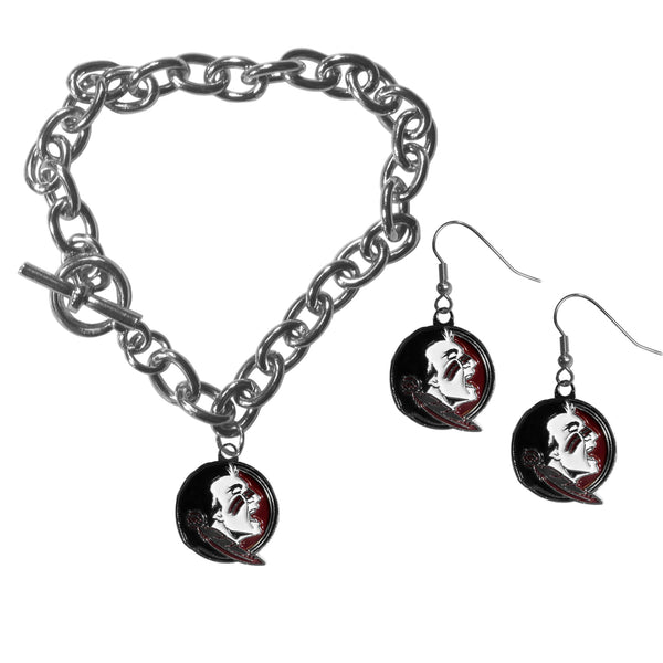 Florida St. Seminoles Chain Bracelet and Dangle Earring Set